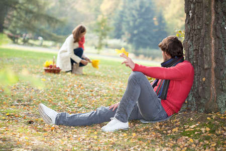 mariage: Young mariage during autumn relaxing in forest