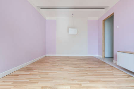 Interior of empty pink room in new house photo