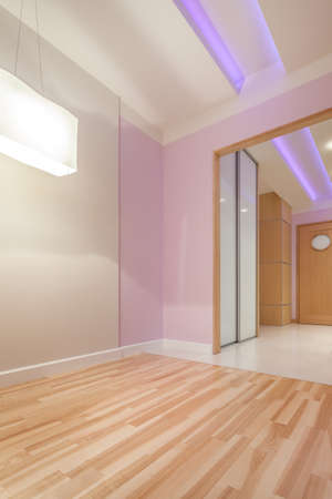 anteroom: View of bright apartment with modern ceiling