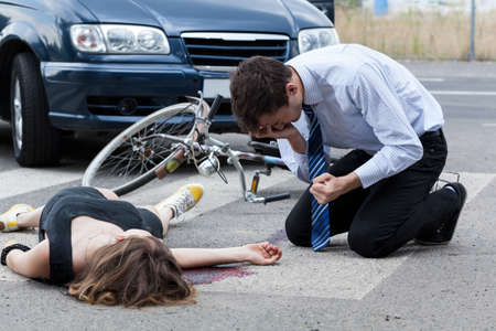 Horizontal view of a fatal road accident 스톡 콘텐츠