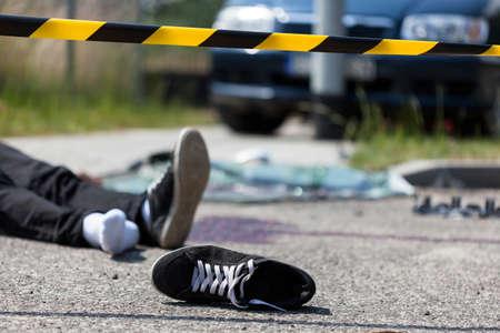 自動車事故のシーンのクローズ アップ 写真素材