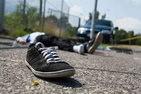 Close-up van een dodelijk auto-ongeluk, horizontale Stockfoto