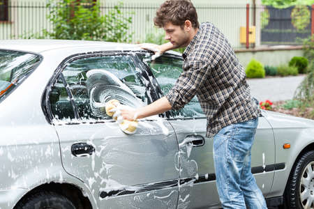 Horizontal view of a professional car cleaning photo