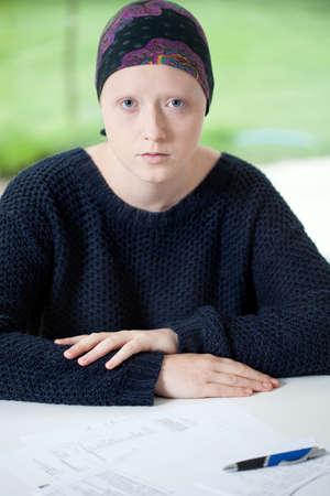 Vertical view of woman suffering from cancer photo