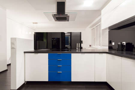 Interior of luxurious kitchen with blue elements