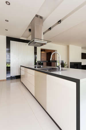 View of open kitchen in modern house photo