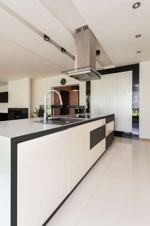Interior of luxurious kitchen in modern flat photo