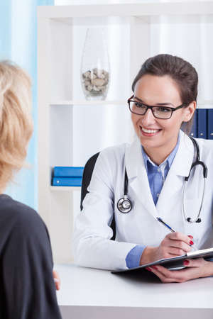 doctor appointment: Patient during medical appointment at doctors office