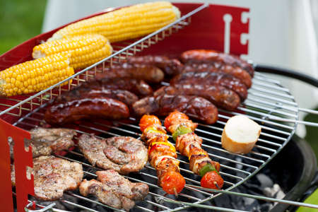 Horizontal view of snacks on a grill
