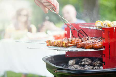 barbecue: Vista horizontal de la parrilla en un jard�n