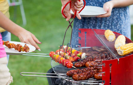 Horizontal view of grill party in a garden Imagens