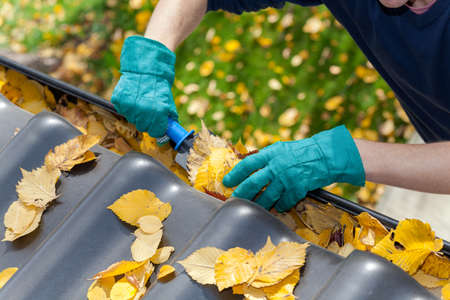 pile of leaves: A man taking autumn leaves out of gutters