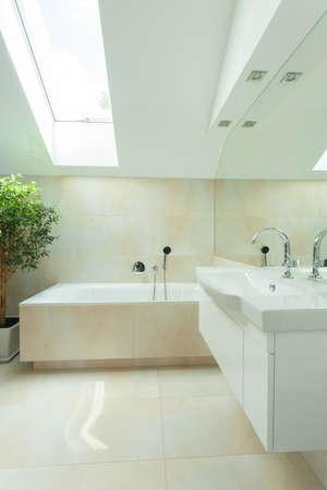 bathroom design: Bright modern bathroom with long roof window Stock Photo