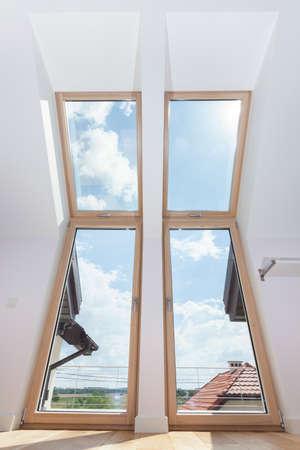 View of big terrace doors with roof windows photo