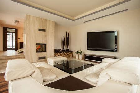 soggiorno moderno con camino foto royalty free, immagini, immagini ... - Soggiorno Cucina Con Camino