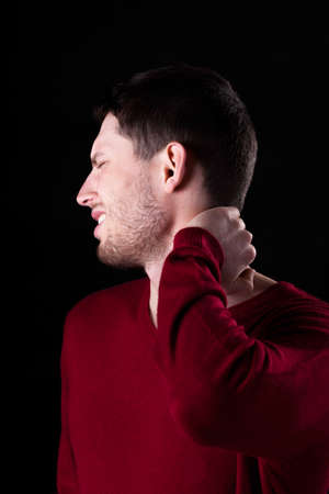 spinal column: Pain of cervical part of spinal column Stock Photo