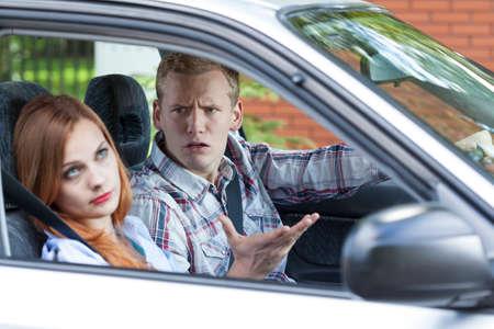Horizontal view of quarrel in a car 版權商用圖片