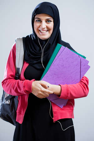 middle eastern ethnicity: Image of Arab female student going to school Stock Photo