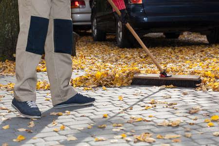 brooming: Horizontal view of brooming driveway from leaves