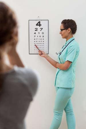 examen de la vista: Especialista de los ojos mediante el test de Snellen para examinar la visión