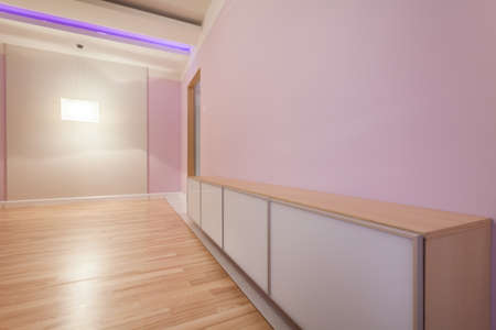 Bright empty room with modern chest of drawers photo