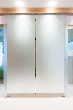 Glass double door in modern apartments hall photo