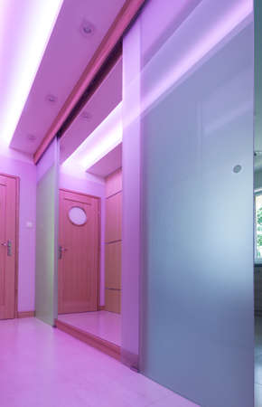 Modern hall with glass door and pink lighting photo