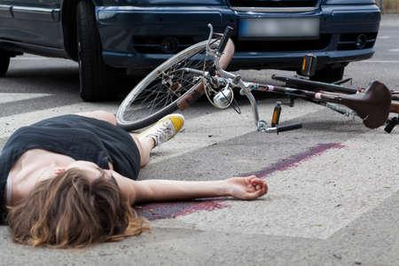 横断歩道上の事故のビュー 写真素材