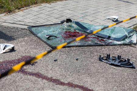 abstracted: View of accident area on the street