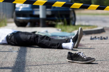 pedestrian: Male victim of the car accident, horizontal Stock Photo