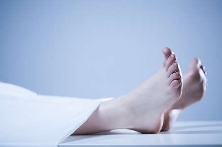 morgue: Horizontal view of the corpse of person Stock Photo