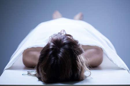 morgue: View of dead woman in the morgue