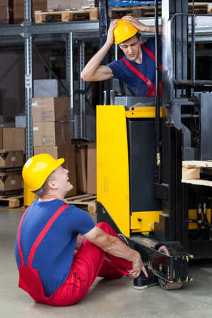 accident at work: View of dangerous accident in a factory Stock Photo