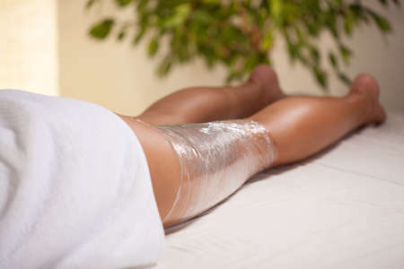 sculpting: Close-up of cosmetic treatment of the leg