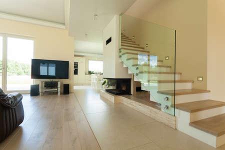 Horizontal interior of modern and bright house photo