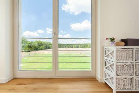 balcony window: View of balcony window in village house