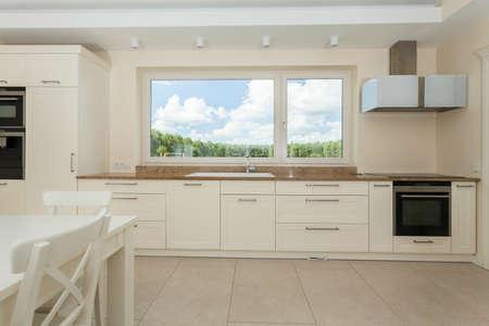 Spacious kitchen in a modern house, horizontal Stock Photo
