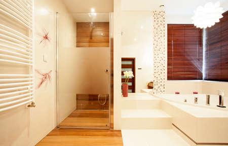 progressive: View of modern wooden shower in bathroom