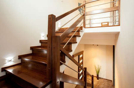 wooden stairs: Horizontal view of wooden stairs at home