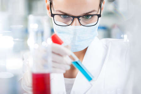 Closeup of biologist analyzing result of testing