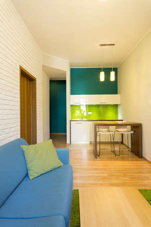 Vertical view of interior of small studio house photo