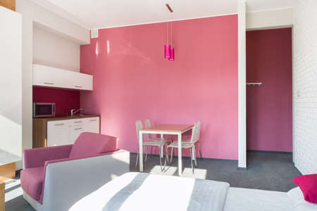 small room: Interior of modern and pink studio house Stock Photo