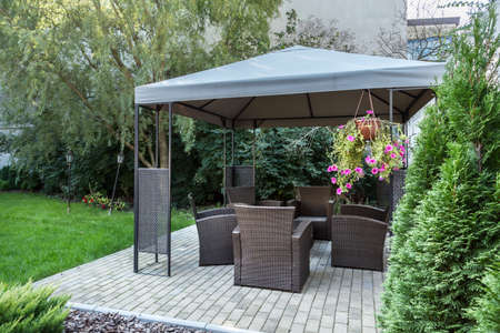 garden furniture: Horizontal view of gazebo in the garden Stock Photo