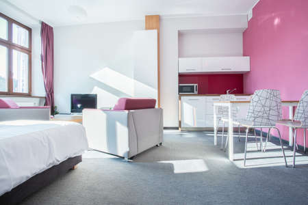 apartment living: Interior of small modern apartment with pink wall Stock Photo
