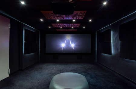 home cinema: Plasma TV on the wall in modern interior Stock Photo