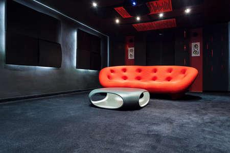 home cinema: Interior of modern room with design furniture