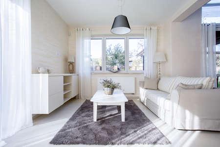 Horizontale weergave van comfortabele en lichte interieur