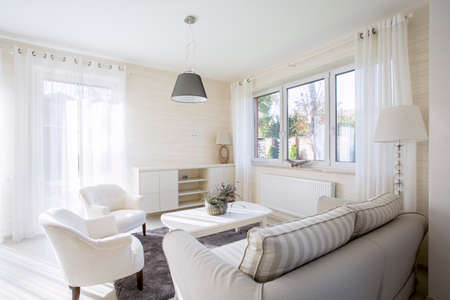 Interior of comfy and bright living room 스톡 콘텐츠