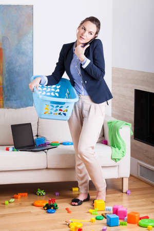 Being a businesswoman and young housekeeper, vertical