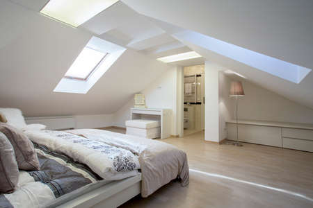 Bedroom connected with bathroom in the attic photo